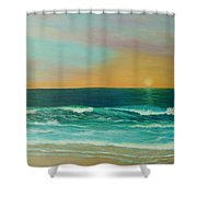 Colorful Sunset Beach Paintings Shower Curtain
