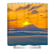 Colorful Sunset Behind Mt. Redoubt And Shower Curtain