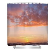 Colorful Sunset Cloudscape Over Beach And Ocean Shower Curtain
