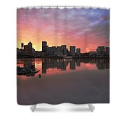 Colorful Sunset Over Portland Downtown Waterfront Shower Curtain