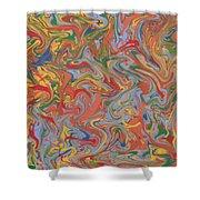 Colorful Swirls Drip Painting Shower Curtain