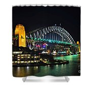 Colorful Sydney Harbour Bridge By Night 3 Shower Curtain