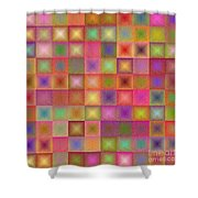 Colorful Textured Squares Shower Curtain
