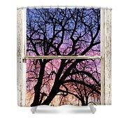 Colorful Tree White Farm House Window Portrait View Shower Curtain