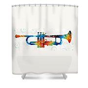 Colorful Trumpet Art Color Fusion By Sharon Cummings Shower Curtain