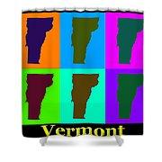 Colorful Vermont Pop Art Map Shower Curtain