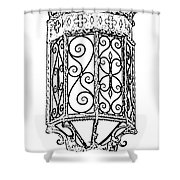 Colorful Vibrant Red Green Gothic Sconce Light Black And White Stamp Digital Art Shower Curtain