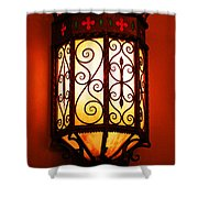 Colorful Vibrant Red Green Gothic Sconce Light Shower Curtain