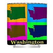 Colorful Washington State Pop Art Map Shower Curtain