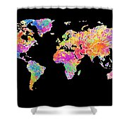 Colorful Watercolor World Map Shower Curtain
