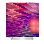 Colorful Waves Abstract Fractal Art Shower Curtain