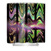Colorful Waves And Stripes Fractal Art Shower Curtain