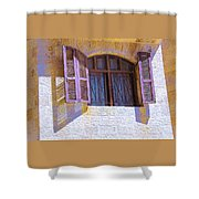 Colorful Window Shutters Shower Curtain