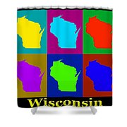 Colorful Wisconsin Pop Art Map Shower Curtain