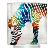 Colorful Zebra Art By Sharon Cummings Shower Curtain