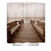 Colorless Seascape Shower Curtain
