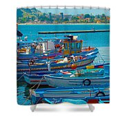 Colors Of A Fishing Fleet Shower Curtain