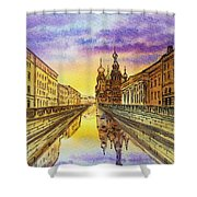 Colors Of Russia St Petersburg Cathedral I Shower Curtain by Irina Sztukowski