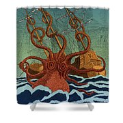 Colossal Octopus Attacking Ship 1801 Shower Curtain
