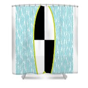 Colour Block Surfboard Shower Curtain