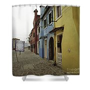 Coloured Houses In Burano Shower Curtain