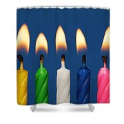 Colourful Candles Lit Shower Curtain