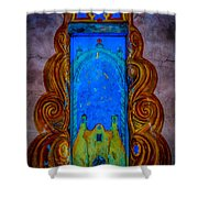 Colourful Doorway Art On Adobe House Shower Curtain