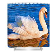 Colourful Swan Shower Curtain
