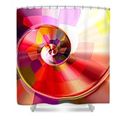 Colourful Tiled Spiral Shower Curtain