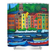 Colours Of Portofino Shower Curtain by Lisa  Lorenz