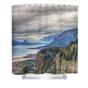 Columbia River Gorge Scenic View In Oregon Shower Curtain