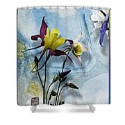 Columbine Blossom With Suminagashi Ink Shower Curtain