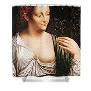 Columbine Shower Curtain by Leonardo da Vinci