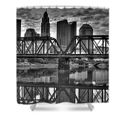 Columbus Ohio Downtown Bw Shower Curtain