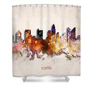 Columbus Painted City Skyline Shower Curtain