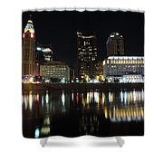 Columbus Skyline At Night Shower Curtain