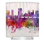 Columbus Skyline In Watercolor Background Shower Curtain