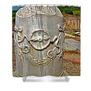 Column Along Sacred Road In Pergamum-turkey  Shower Curtain