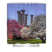 Columns And Dogwood Trees Shower Curtain