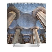 Columns And Domes Of Hypostyle Room In Park Guell Shower Curtain