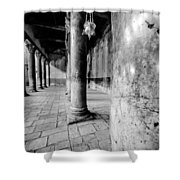 Columns At The Church Of Nativity Black And White Vertical Shower Curtain