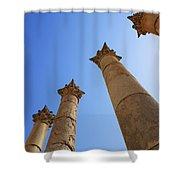 Columns At The Temple Of Artemis At Jerash Jordan Shower Curtain by Robert Preston