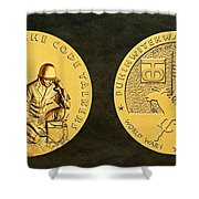 Comanche Nation Tribe Code Talkers Bronze Medal Art  Shower Curtain