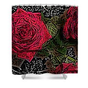 Comic Book Roses Shower Curtain