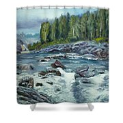 Coming Water Shower Curtain