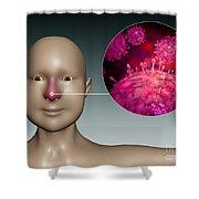 Common Cold Influenza Virus Shower Curtain