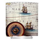 Compass And Old Map With Ships Shower Curtain