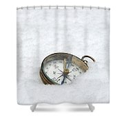 Compass In Snow Shower Curtain