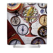 Compasses And Globe Illustration Shower Curtain