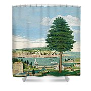 Composite Harbor Scene With Castle Shower Curtain by Jurgen Frederick Huge